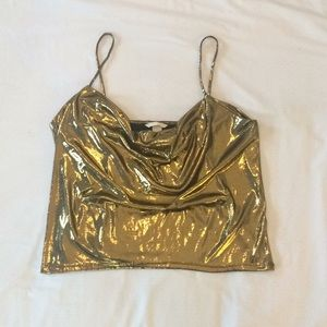 NWOT H&M Gold flowy crop top L